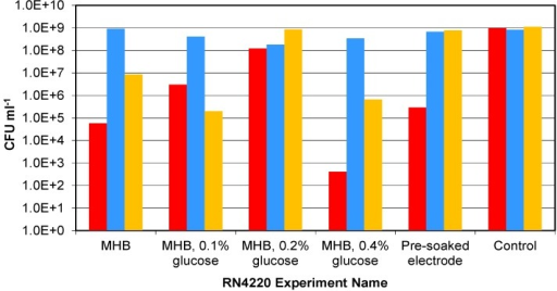 The final cell numbers of RN4220 in the parallel suspension experiment from low starting cell densities. Bar colours indicate sample number: Red—sample one; Blue—sample two; and Yellow—sample three.
