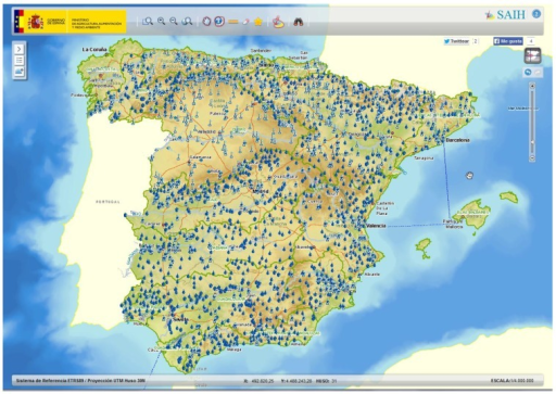 Geographic distribution of the national hydrological sensor network SAIH (part of the network shown by the website of the Ministry of Environment of Spain).