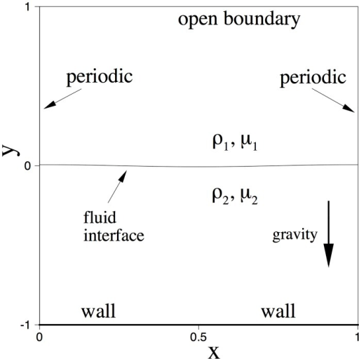 Configuration for the capillary wave problem.