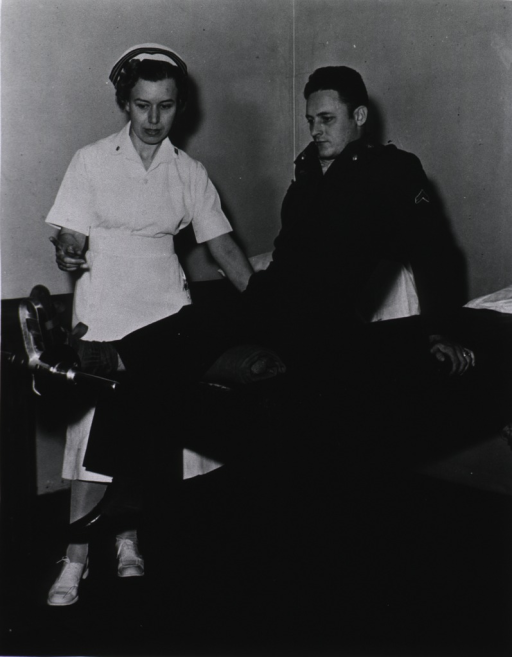<p>Physio-therapy under the supervision of Lt. Lucy Benjamin, NC, USN.</p>