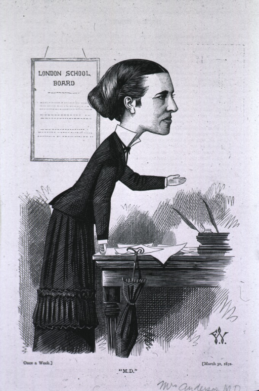 <p>Standing, right pose, addressing &quot;London School Board&quot;.  &quot;Mrs. Anderson originally refused admission to English Medical Schools finally won her right for admission.  Founder of the New Hospital for Women (England).</p>