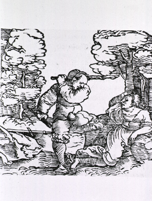 <p>Exterior view: a hot-tempered, choleric man has raised a stick to strike a woman who has fallen to the ground.</p>