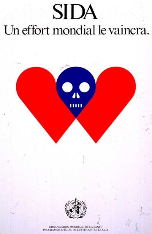 <p>White background with black lettering. Initial title is at top with subtitle just below it. Middle portion of poster is a visual image of a blue-colored skull inserted between the twin lobes of a red-colored heart symbol. The pointed part of the heart symbol (at the bottom) is missing. The United Nations logo is at the bottom of the poster along with the publisher's name. The designer's name and copyright date are in the bottom right-hand corner. A black border runs around the edge of the poster.</p>
