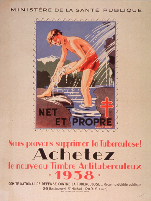 <p>Tan or discolored white poster with black and red lettering.  Sponsor information at top of poster.  Visual image is a reproduction of an antituberculosis stamp from 1938 featuring a boy bathing in a stream.  Note text on stamp.  Note urges cleanliness.  Title below stamp.  Publisher information at bottom of poster.</p>