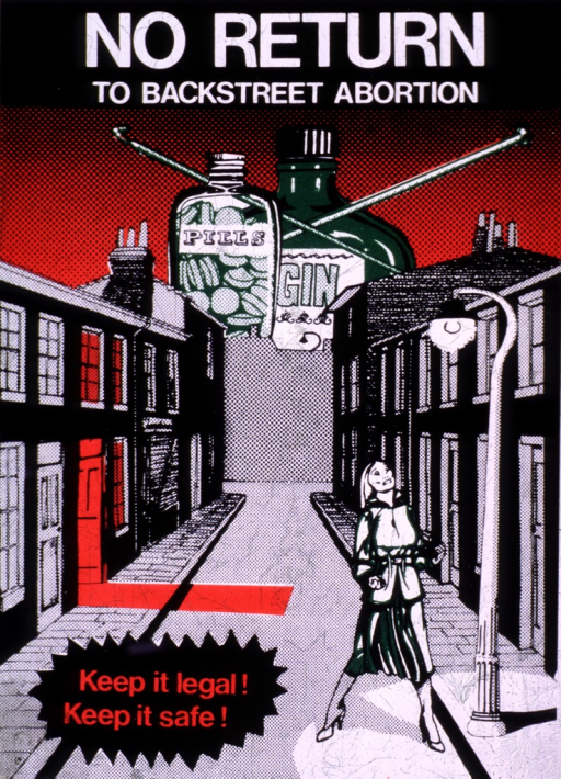 <p>A woman standing on a narrow street; a business establishment on the left is illuminated in red; at the end of the street are two containers labelled 'Pills' and 'Gin' with a cross formed by two knitting needles.</p>