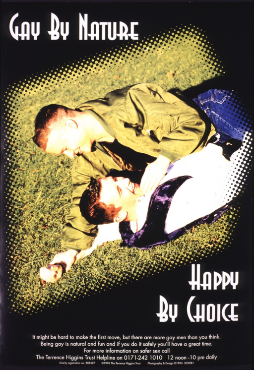 <p>Black poster with white lettering, illustrated in the middle with a color photograph of two men wrestling in the grass.  The telephone number and hours of the helpline of Terrence Higgins Trust appear at the bottom, as does the charity registration number.</p>