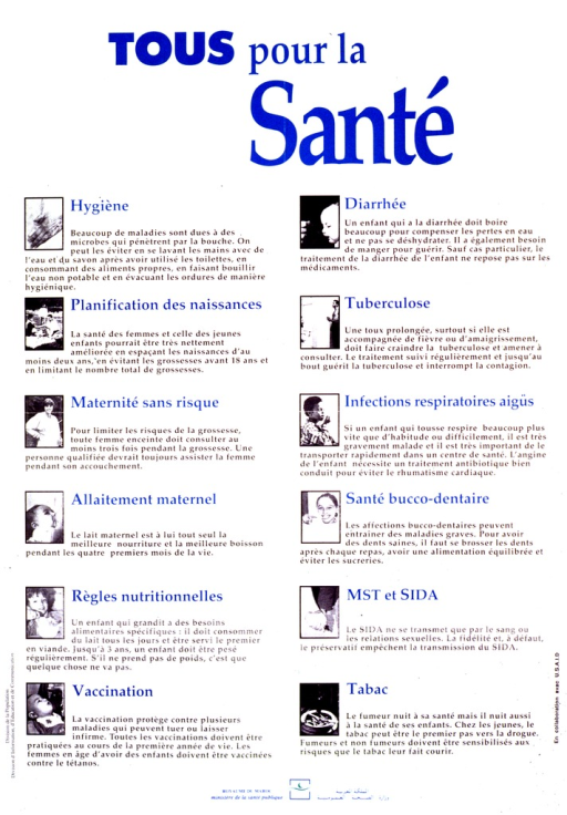 <p>Light green background with blue lettering. Title is at top. Most of the poster is a series of 12 b&amp;w photographs depicting some form of health behavior. Each photograph has a title in French and 5-6 lines of French-language text next to it. Logo at bottom.</p>