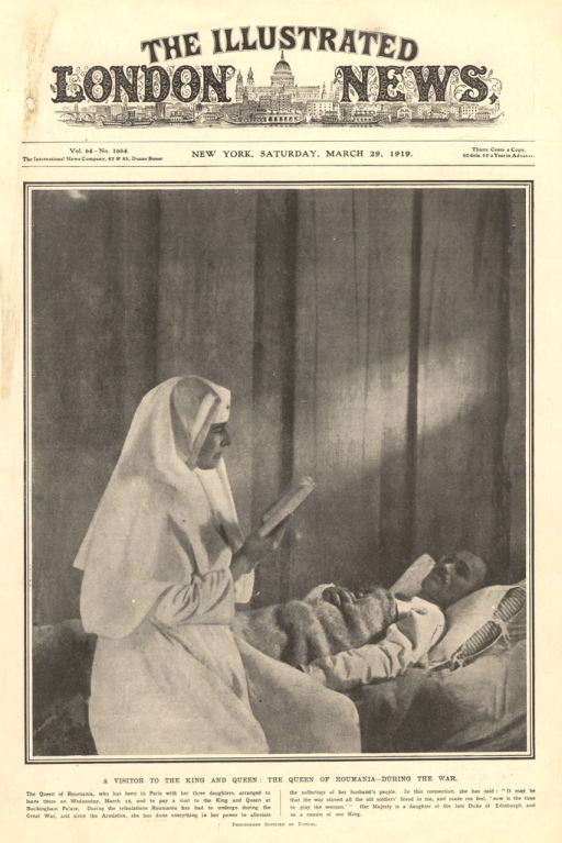 <p>The queen wears a nurse's uniform and sits on the bed of a wounded soldier.  She reads a book to him.</p>
