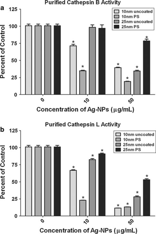 Ag-NP effects on purified cathepsin B and L enzymes. Ag-NPs were incubated with purified cathepsin B (a) or L (b) enzymes. The amount of cathepsin activity in the treatment groups is expressed as percent control and plotted as the mean +/- SEM. Fluorescence was determined using a fluorescent plate reader (*P < 0.05, n = 6).