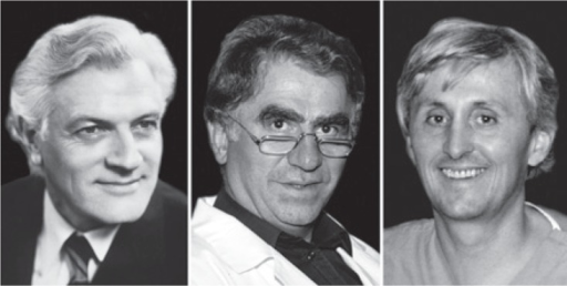 The pioneers of interventional radiology. From left to right: Ivo Obrez, Miloš Šurlan and Dušan Pavčnik.
