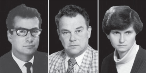 The pioneers of interventional radiology. From left to right: Marijan Jereb, Jurij Us and Erika Brenčič.
