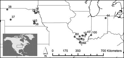 Map of field margins indicating sites of seed collection, labeled by percentage of GR C. canadensis plants collected.