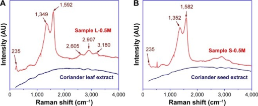 Raman spectra of (A) coriander leaf extract and sample L-0.5M and (B) coriander seed extract and sample S-0.5M.Note: Numbers indicate the position of vibrational bands.Abbreviations: L-0.5M, final colloid obtained using coriander leaf extract and 0.5 M AgNO3; S-0.5M, sample obtained using extracts of coriander seeds and 0.5 M AgNO3 solution.