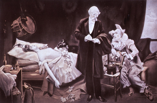 <p>Shows a doctor in a circus tent attending to an injured dancer.</p>