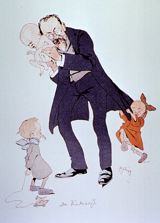 <p>Caricature: a pediatrician standing, auscultating an infant; a child hangs from his coat, and another child is standing in front of him.</p>