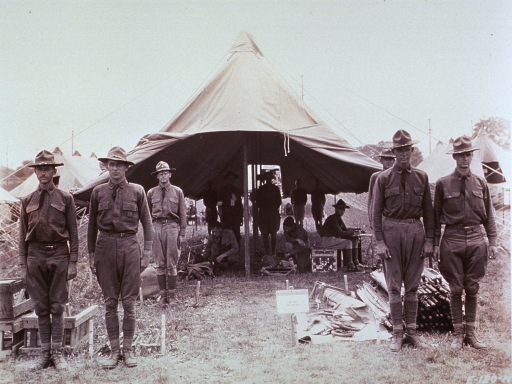 <p>Interior view of an admission tent.</p>