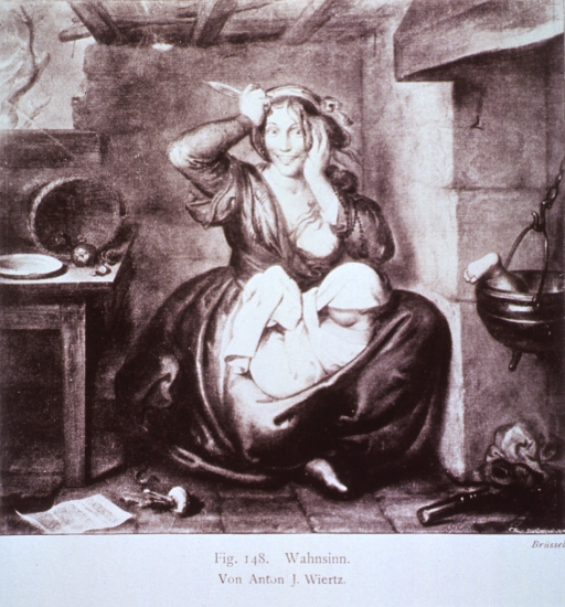 <p>Shows a woman who has murdered her child, child's leg is in the stew pot.</p>