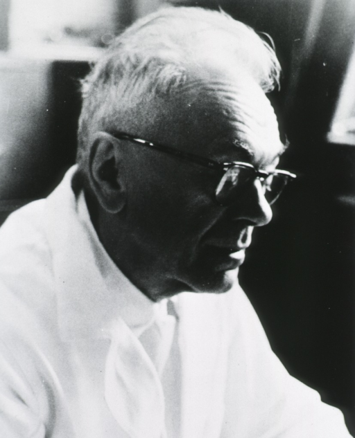 <p>Head and shoulders, right pose; wearing glasses and white coat.</p>