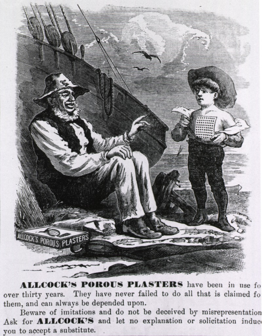 <p>Allock's porous plasters...[advertisement for a healing plaster].</p>