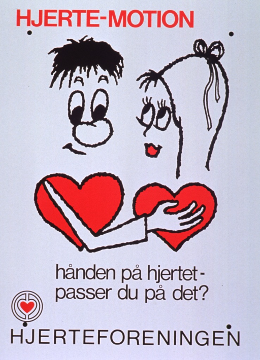 <p>White poster with red and black lettering.  Initial title words at top of poster.  Visual image is a cartoon-style illustration of a man putting his hand on a woman's heart.  Remaining title words below illustration.  Publisher name and logo at bottom of poster.</p>