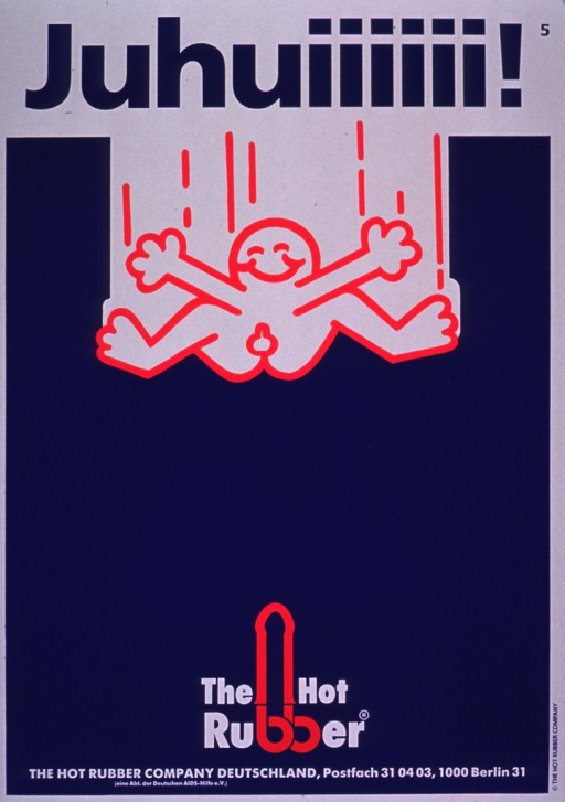 <p>The poster is in royal blue, bright pink, and white. The visual is the outline of a male character jumping in mid air with his arms and legs spread out. The first part of the title appears at the top of the poster and the second part of the title appears at the bottom. A condom appears as an extension of the two stems of the b's in the word &quot;rubber&quot;.</p>