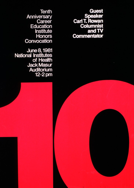 <p>Black poster with a portion of a large dark pink number ten covering the lower half of the poster.</p>