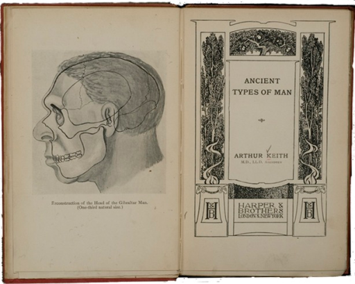 <p>Image of title page and facing page with illustration of head of Gibraltar Man.</p>