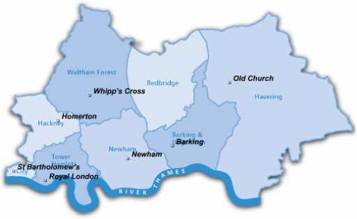 map of east london with the seven hospitals providing nhs outpatient services for patients with hiv
