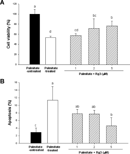 (A) Effect of ginsenoside Rg3 on cell viability in palmitate-treated MIN6N8 cells. The cells were treated with 500 µM palmitate in the presence or absence of 1–5 µM Rg3 for 48 h. Cell viability was determined by MTT assay. Values are means ± SD (n = 9). Means with different letters differ significantly among groups (p<0.05). (B) Effect of Rg3 on palmitate-induced apoptosis in MIN6N8 cells. The cells were treated with Rg3 simultaneously with palmitate for 48 h. Apoptosis was determined as the amount of cytosolic histone-associated DNA fragments. Values are means ± SD (n = 9). Means with different letters differ significantly among groups (p<0.05).