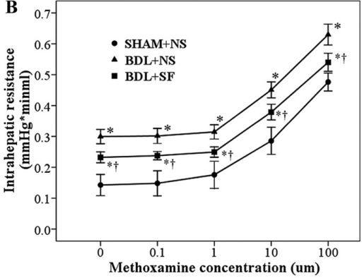Cumulative concentration-response curves of methoxamine-induced (A) portal perfusion pressure and (B) intrahepatic resistance in sham-operated + normal saline (SHAM + NS), bile duct ligation + normal saline (BDL + NS) and bile duct ligation + sodium ferulate (BDL + SF) groups. SF induced a significant decrease in the response to methoxamine observed in rats subjected to BDL. Data are expressed as the means ± standard deviation (SD) (n=8). *P<0.05 vs. SHAM + NS group at the same methoxamine concentration; †P<0.05 vs. BDL + NS group at the same methoxamine concentration