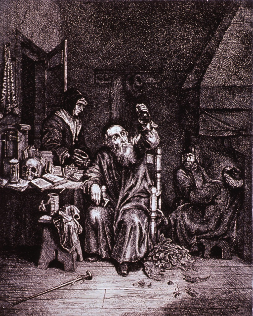 <p>An old man sitting in a chair at a cluttered desk is holding up a urine flask to examine its contents; a woman stands at the door awaiting the diagnosis; among the items on the desk are open books, a skull, and an hour glass.</p>