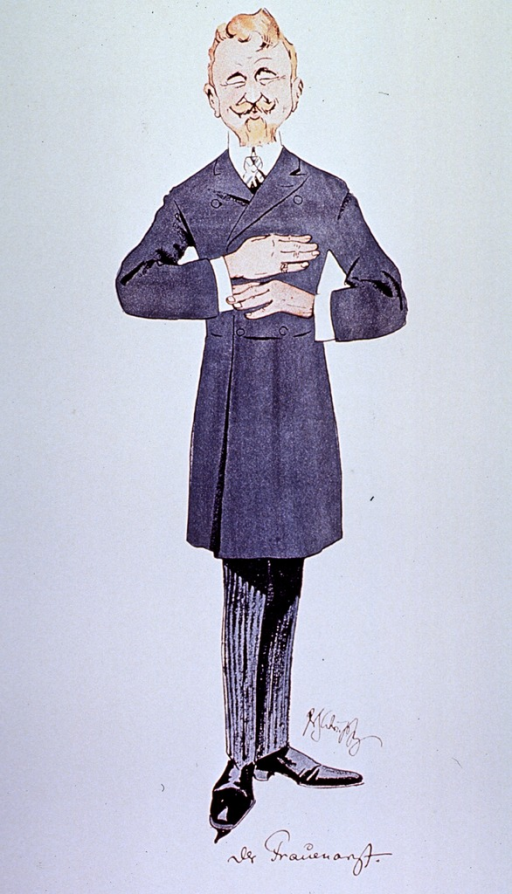 <p>Caricature: a gynecologist standing full length.</p>