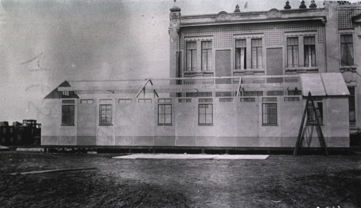 <p>An exterior view of the Duckor House at a German Red Cross Hospital.</p>
