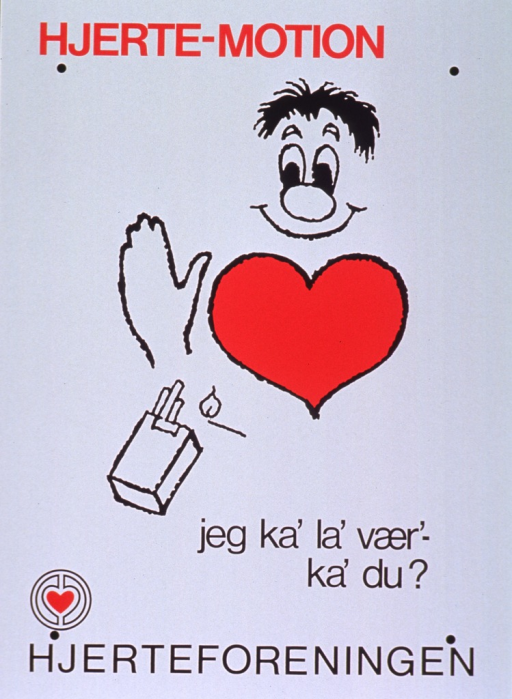 <p>White poster with red and black lettering.  Initial title words at top of poster.  Visual image is a cartoon-style illustration of a man apparently refusing an offer of a cigarette.  Remaining title words below illustration.  Publisher name and logo at bottom of poster.</p>