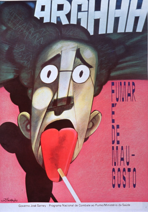 <p>Multicolor poster.  Initial title word at top of poster.  Remaining title text in lower right portion of poster.  Visual image is an illustration of a man.  His hair is standing up, his eyes are very large, and he sticks out his tongue.  A cigarette falls off of his tongue.  Publisher information at bottom of poster.</p>
