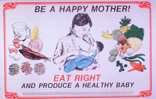 <p>Predominantly white poster with black and red lettering.  Title at top of poster.  Visual images are illustrations of protein-rich foods such as fish, eggs, cheese, meat, and legumes; a mother breastfeeding her baby; and fruits and vegetables, including bananas, pineapple, cabbage, melon, tomatoes, lemons, and carrots.  Most of the illustrations have been hand colored using a magic marker.  Caption below illustrations.  Publisher and sponsor information at bottom of poster.</p>