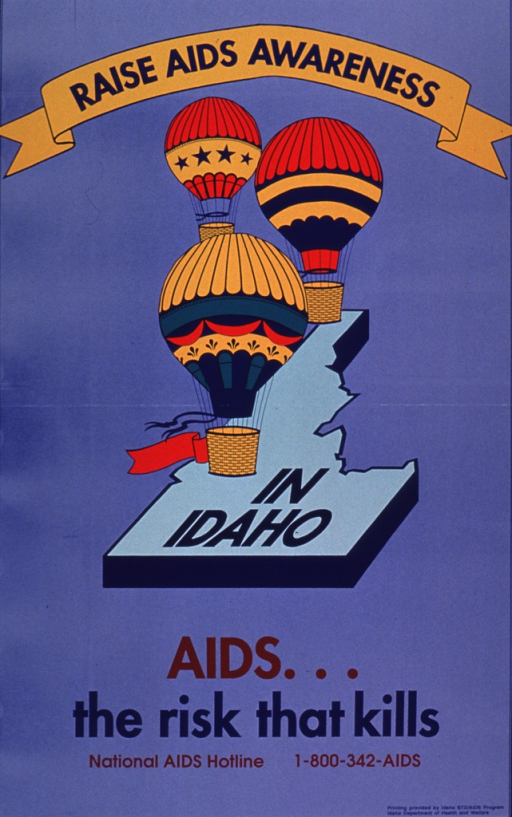 <p>The poster is blue with hot air balloons flying over an area shaped like Idaho. The banner above the balloons has the first portion of the title printed on it and the words &quot;in Idaho&quot; are printed on the area shaped like the state. The picture caption and National AIDS Hotline number appear below the visual.</p>