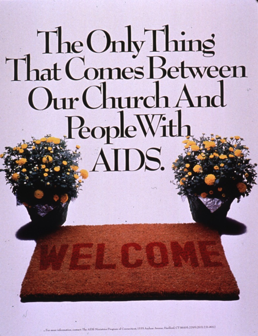 <p>Predominantly white poster with black and red lettering.  Title in upper portion of poster.  Visual image is a color photo reproduction featuring a welcome mat and two potted mums.  Publisher information at bottom of poster.</p>