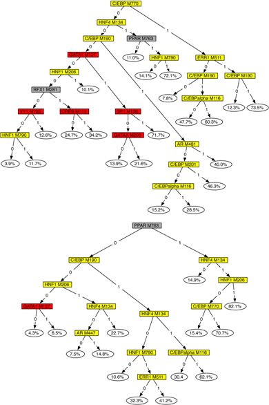 The regression tree generated by the iteration with the best likelihood for a 1X (top) and 2X (bottom) data sets. Internal nodes corresponding to liver-specific transcription factors are colored yellow, and those corresponding to erythroid-specific factors are red.