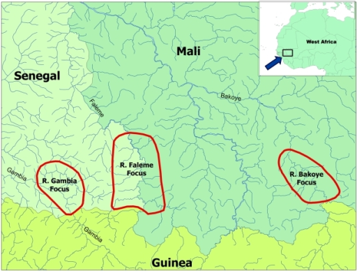 Location of the three study areas in Mali and Senegal.