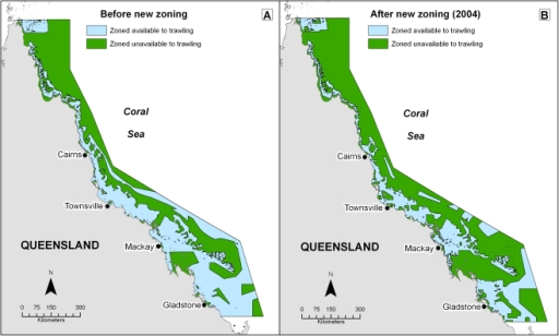 Area zoned available and unavailable to trawling before and after new zoning was introduced in 2004.Almost 51% of the Great Barrier Reef World Heritage Area (177,732 km2; GBRWHA) was zoned available to trawl fishing prior to the introduction of new spatial closures in 2004. New zoning decreased the amount of area zoned available to trawl fishing by 59,244 km2, and 34% (118,488 km2) of the GBRWHA is currently zoned available to trawl fishing.