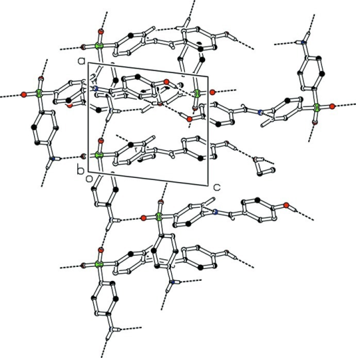 The partial packing (PLATON; Spek, 2009) which shows that molecules form two dimensional polymeric network. The H-atoms not involved in H-bondings are omitted for clarity.