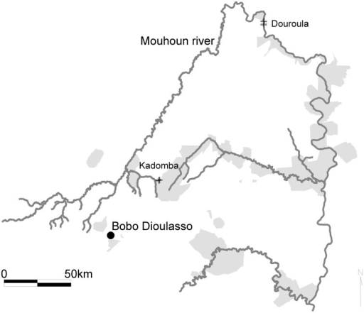 Location of the study sites in the Mouhoun river basin, Burkina Faso. The gray areas correspond to the protected forests.