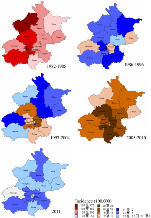 Spatiotemporal distribution of measles incidence in different stages, 1982–2011.