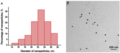 Characteristics of the gold nanoparticles. (A) Histogram of particle size distribution; (B) An image of gold nanoparticles from the electron micrograph.