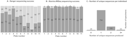Results of both Sanger and Illumina MiSeq sequencing of 1,010 individual arthropods from a single Malaise trap sample.(A) Overall success of generating COI DNA sequences via Sanger sequencing for each of eleven 96-well specimen plates. (B) Overall success of generating COI DNA sequences via Illumina MiSeq sequencing for each of eleven plates. For (A) and (B), number of individuals per plate producing a COI sequence are shaded dark below, with unsuccessful individuals above. (C) Number of unique COI DNA sequences produced via Illumina MiSeq sequencing for each individual.