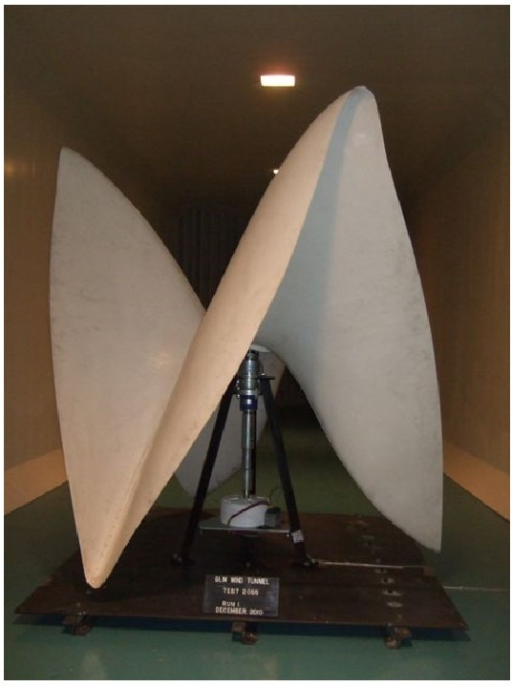 Helical rotor shape tested in aerodynamic tunnel.
