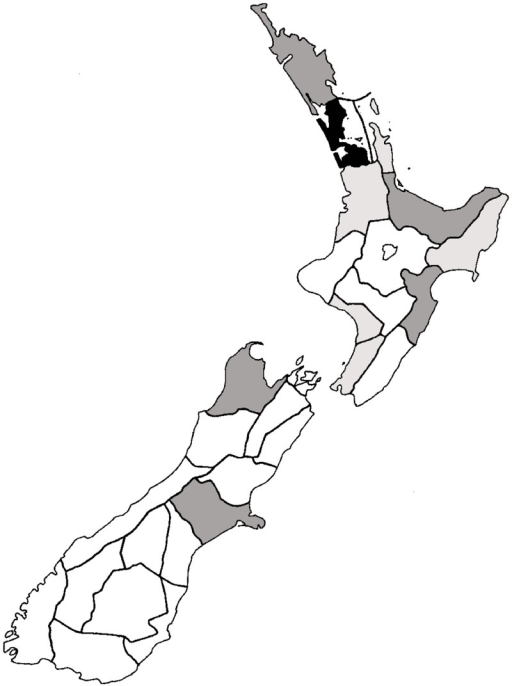 Distribution of alien Hymenoptera throughout New Zealand regions.White = 0–25; light grey = 26–5; dark grey = 51–75; and black = 76–100+ species. Further details of the regions can be found in Crosby et al. (1998).