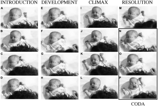 Baby B's expressive actions at different moments in interaction with his mother. The columns correspond to the four phases of a narrative of purposes and experiences supported by the vocalizations of his mother numbered in Figure 4 After a period of intense, pleasurable self-expression, with his mother's happy participation, B withdraws, and his mother attempts to provoke new engagement by 'teasing' or 'joking' about his behaviors. See detailed description in the text.