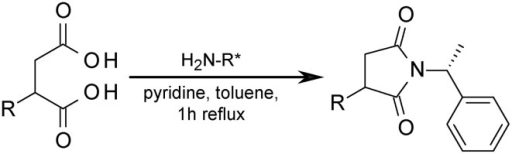 Formation of diastereoisomeric succinimides from succinate derivatives for stereochemical investigation. H2N-R* = (R)-1-phenylethanamine.